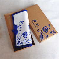 Beautiful Bags Original Fashion Women Ladies Handmade Canvas Blue And White Porcelain Long Wallet Card Money