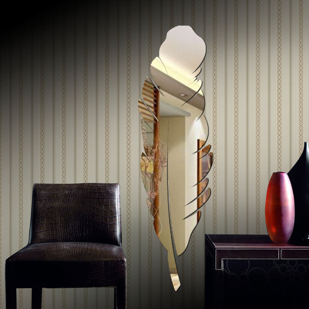 Feather Shape 3D Home Office Mirror Effect Paster Wall Stickers Removable Fashion Home Deco Living Room Decoration