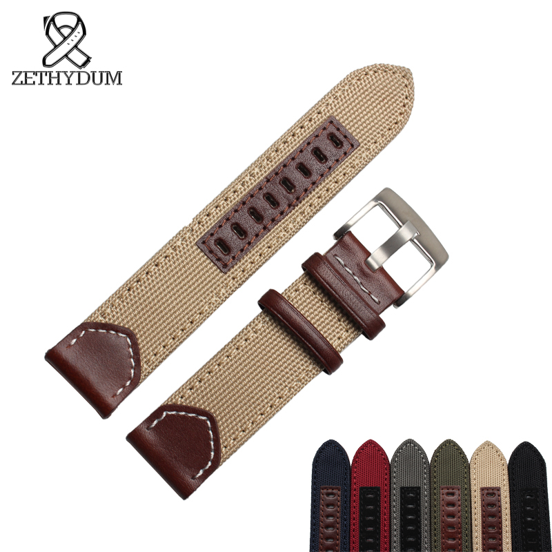 Nylon bracelet 20 22 24mm canvas watch strap with sport with genuine leather fashion watchband Pin buckle survival nylon bracelet brown