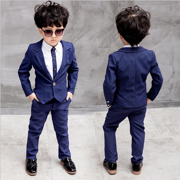 2018 garçons automne nouveau Gentleman costume veste + chemise + pantalon 3 pièces manteau à manches longues haut Cardigan mode ensemble 2-9 ans