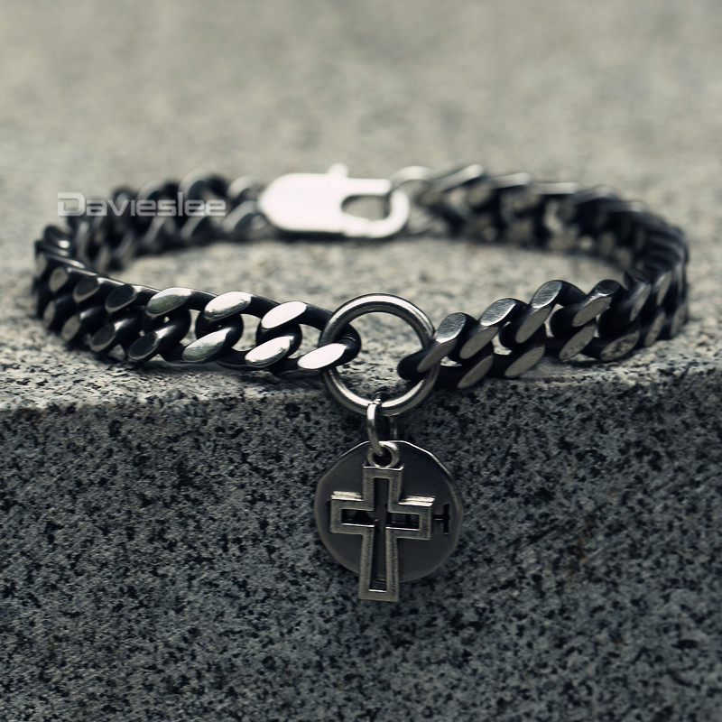 Davieslee Cross Round Faith Charm Bracelet Men Curb Cuban Chain Stainless Steel Gunmetal 8mm Mens Jewelry Gift LDB23