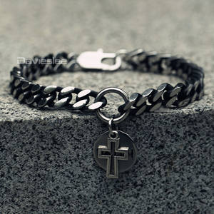 Davieslee Cross Round Faith Charm Bracelet For Men Curb Cuban Chain Stainless Steel Gunmetal