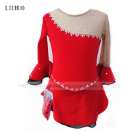 Figure Skating Dress Women's Girls' Ice Skating Dress Red high elastic spandex fabric is comfortable for sweating Lovely girl