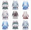 Crianças meninas impresso roupas um line borboleta vestidos de manga longa elegante vestido para a menina de inverno de algodão para meninas traje da princesa