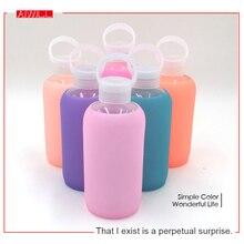 Mode Bunte 500 mL Glas Wasserflasche Glas Cups Schöne Geschenk Frauen Wasserflaschen mit Silikongehäuse Neue Ankunft