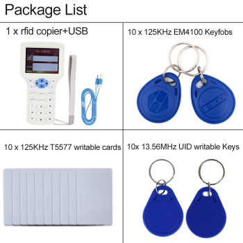 Handheld English 10 Frequency RFID Copier duplicator NFC Reader Writer Programmer IC/ID with USB EM4305/ UID Rewritable Keycards