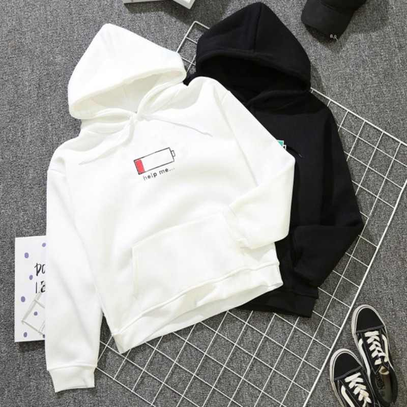 Couple Hoodies Women Men Black White Long Sleeve Sweatshirts Japanese Streetwear Winter Clothes Cashmere Hoodies Pullover L1