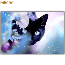 Peter ren Diamond painting by numbers Beaded embroidery kitten Round\Square drill Mosaic Full Flower and black cat