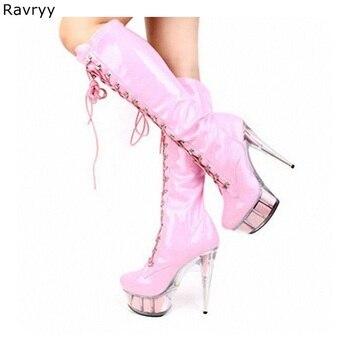 Cross-tied patent leather pink Woman long boots Pole dance Model Show Fun Club Party Female Shoes PVC Platform Heel Women Shoes