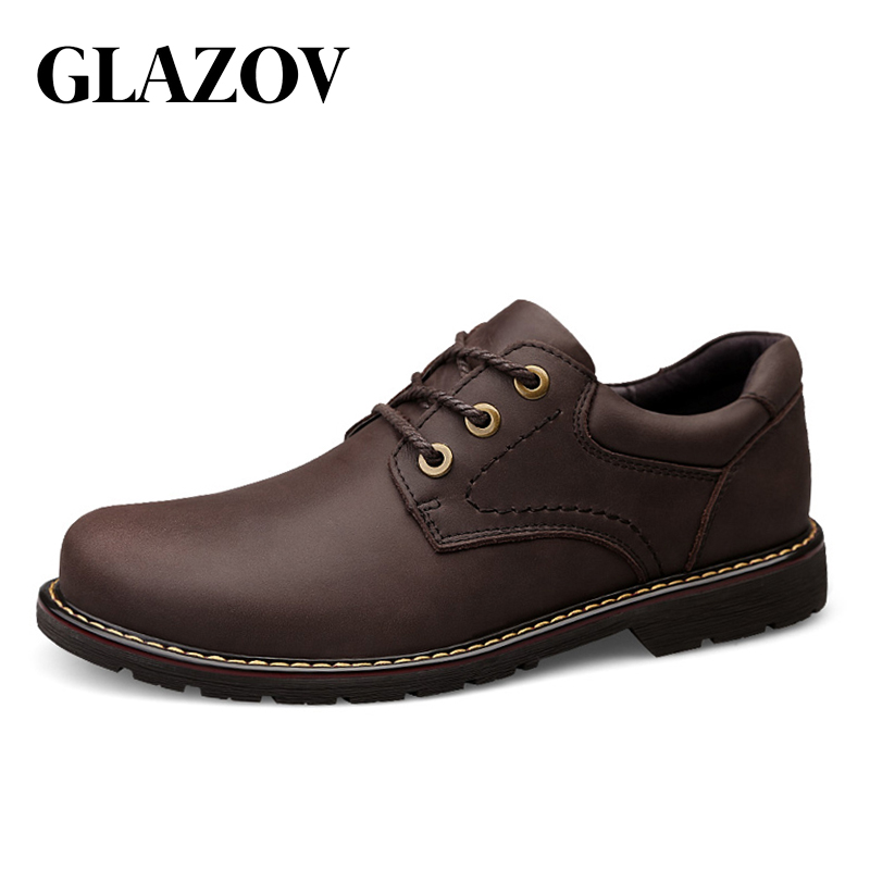 GLAZOV Fashion Comfortable Casual Shoes Oxfords Men Shoes Quality Genuine Leather Shoes Men Flats Hot Sale Working Men Shoes
