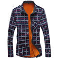 HCXY Spell color plaid mens velvet thick warm long-sleeve mens shirt 2015 new winter Slim shirts men casual slim fit
