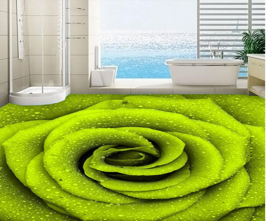Photo floor wallpaper 3d stereoscopic 3D stereoscopic wallpaper self-adhesive floor green rose PVC waterproof floor