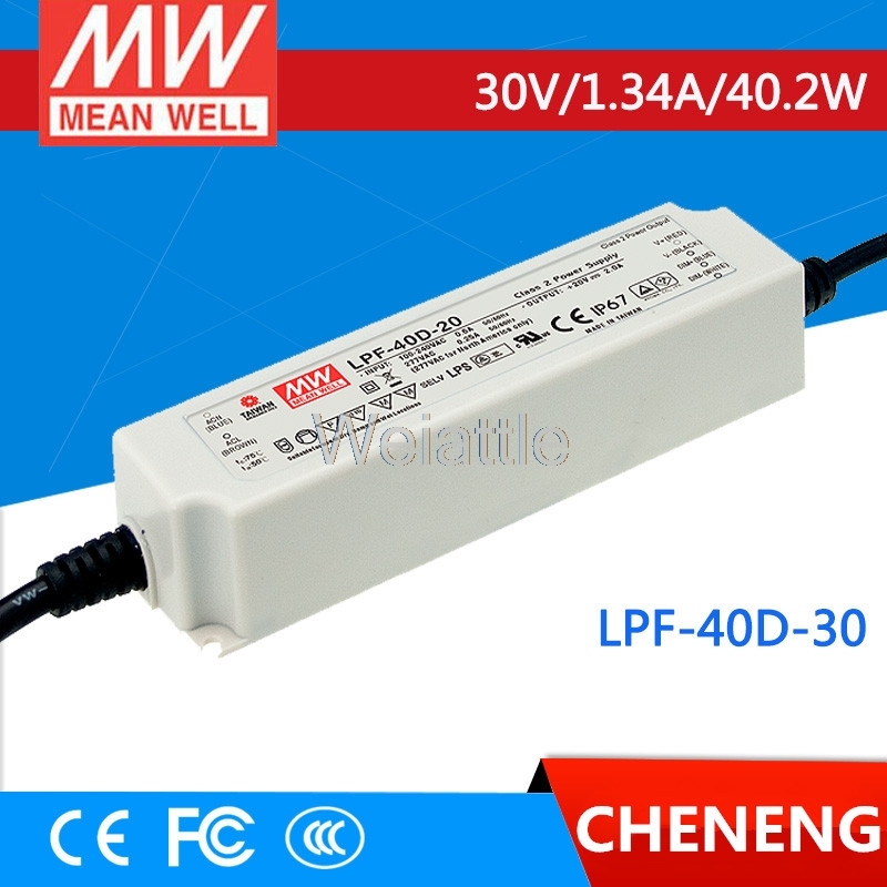MEAN WELL original LPF-40D-30 30V 1.34A meanwell LPF-40D 30V 40.2W Single Output LED Switching Power Supply mean well original npf 40d 36 36v 1 12a meanwell npf 40d 36v 40 32w single output led switching power supply