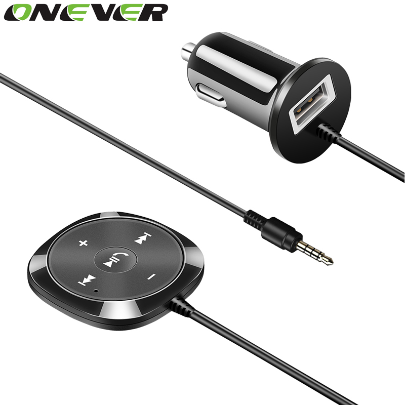 Onever Handsfree Bluetooth Car Kit MP3 Player 3.5mm AUX Audio A2DP Music Receiver Adapter Support for Siri with Magnetic Base