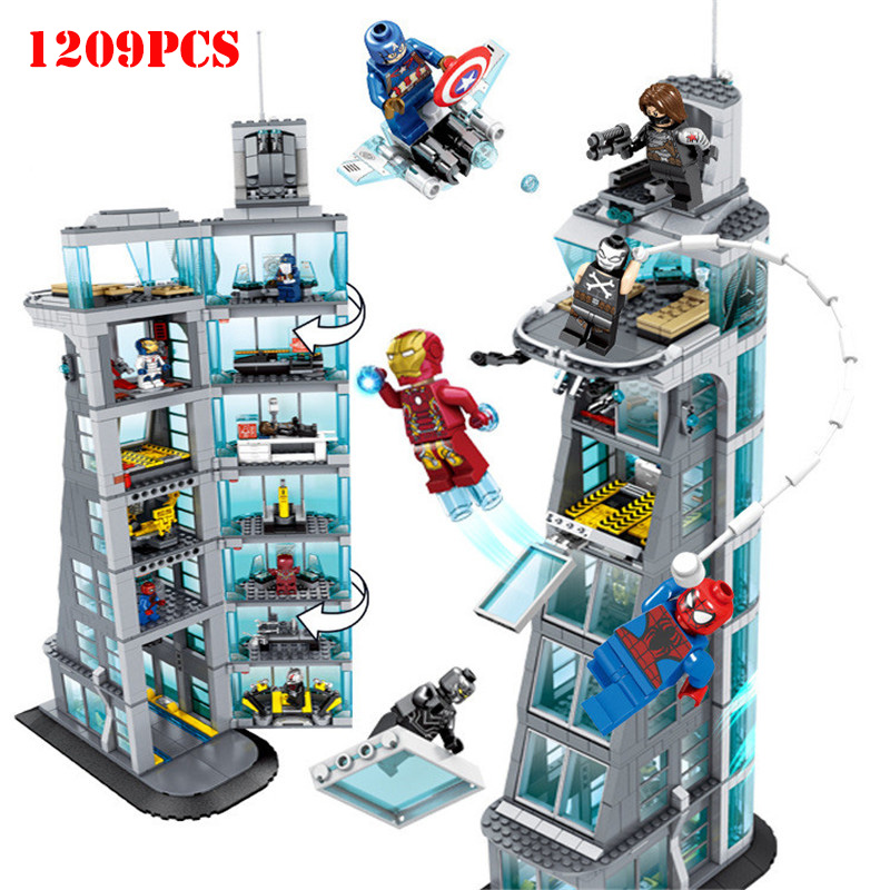 Marvel Superhero Ironman Avenger tour 7th étage blocs de construction compatibles Legoings ville technique briques Avengers jouets enfants