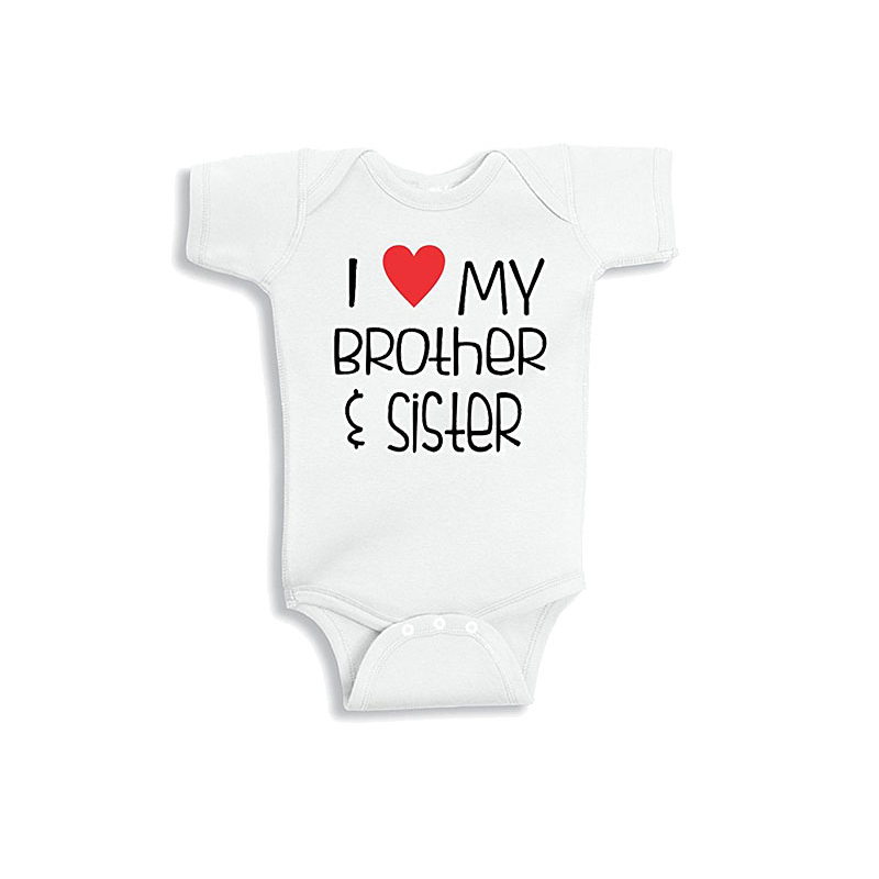 I Love My Brother Baby Grow with Funny Heart Bodysuit Vest Body Suit Girl Boy