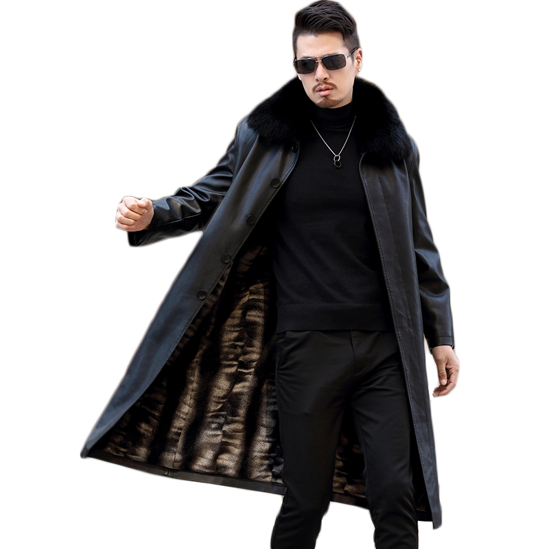 Men Leather Jacket New Genuine Leather Lamb Winter Coats Male Fur Collar Casual Men's Jackets Plus Velvet Jaqueta Masculino