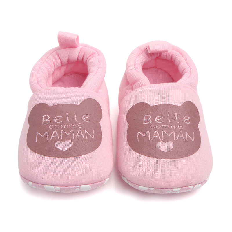 Lovely Cotton Newborn Baby Shoes Cute Infant Baby Girls Boys First Walkers PAPA MAMAN Soft Shoes Toddler Crib Shoes For 0-18M