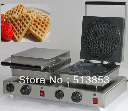High Quality Doulbe-Head Electric Heart Shape Waffle Maker Machine Baker economic and elegance waffle maker machine baker doulbe head electric churros with bar shaped and popsicle