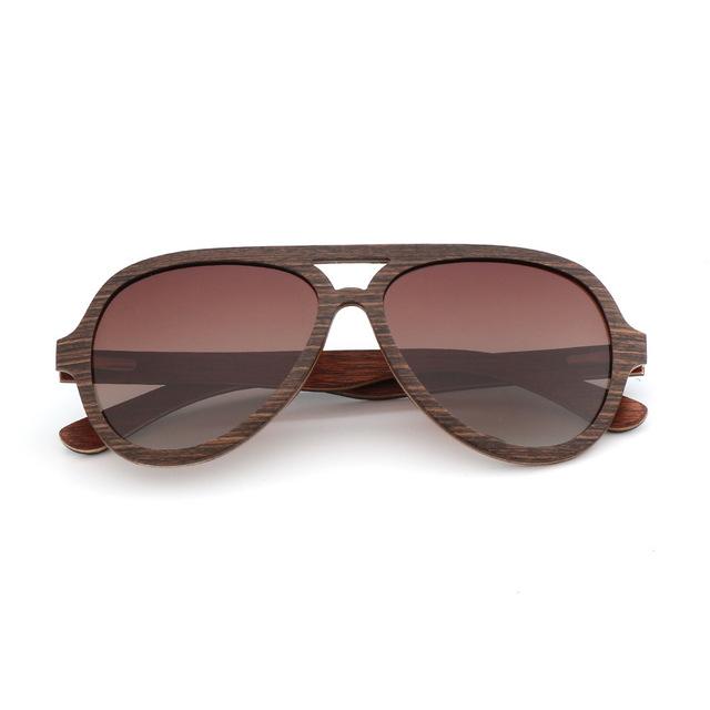 Unisex Wooden Aviator Sunglasses