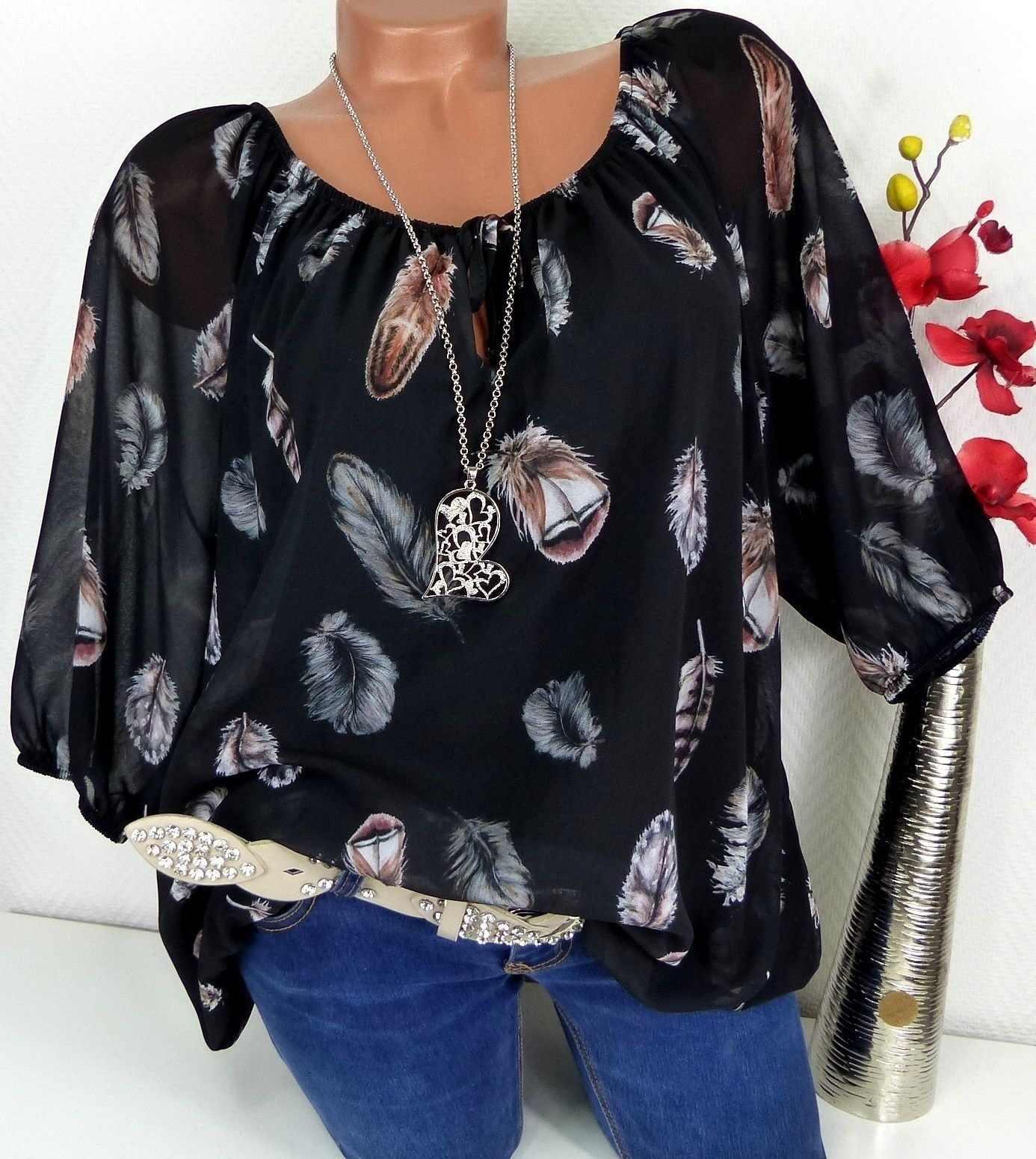 5XL Plus Ukuran Besar Blus Wanita Musim Panas Tops Baru Leisure Blus Putih Longgar Bulu Cetak V Leher Setengah Lengan kemeja Blusas