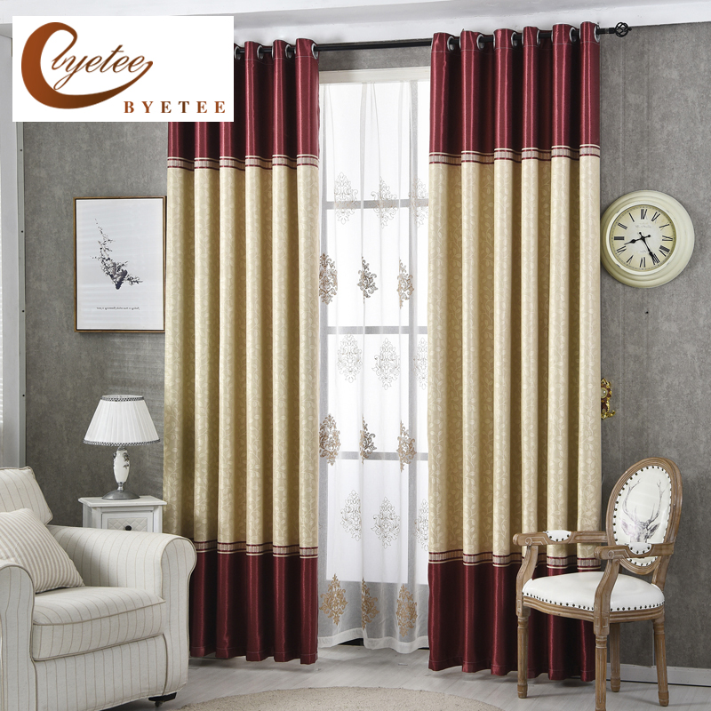 [byetee] Modern Living Room Luxury Window Curtains Striped