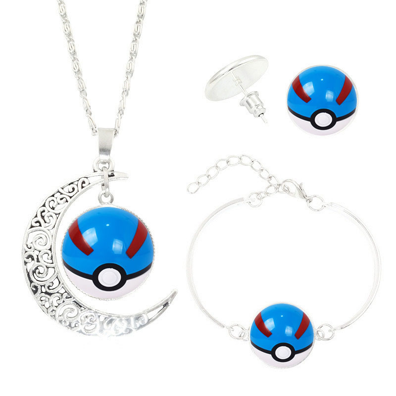 Pokemon Go Jewelry Set with Silver Plated Crescent Glass Cabochon Pokemon Ball Pattern Necklace Earring&Bracelet Set for Women