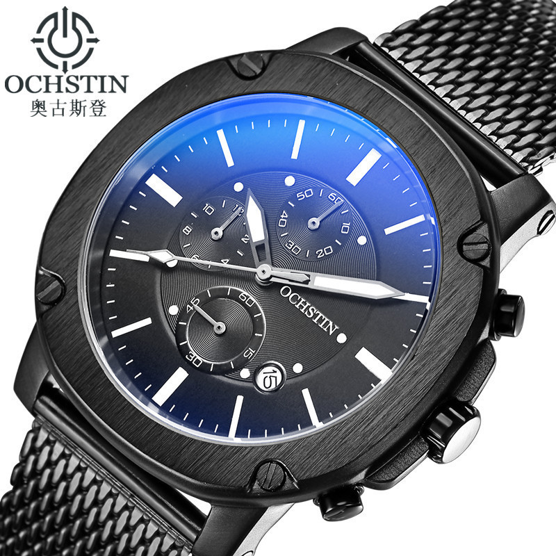 New Men Watches Top Brand Luxury OCHSTIN Waterproof Date Clock Male Steel Strap Casual Dress Quartz Watch Men Wrist Sport Watch splendid brand new boys girls students time clock electronic digital lcd wrist sport watch
