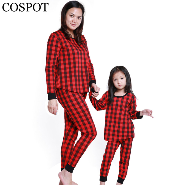 cospot mom and daughter plaid christmas pajamas mather and kids winter nightwear set family matching sleepwear - Plaid Christmas Pajamas