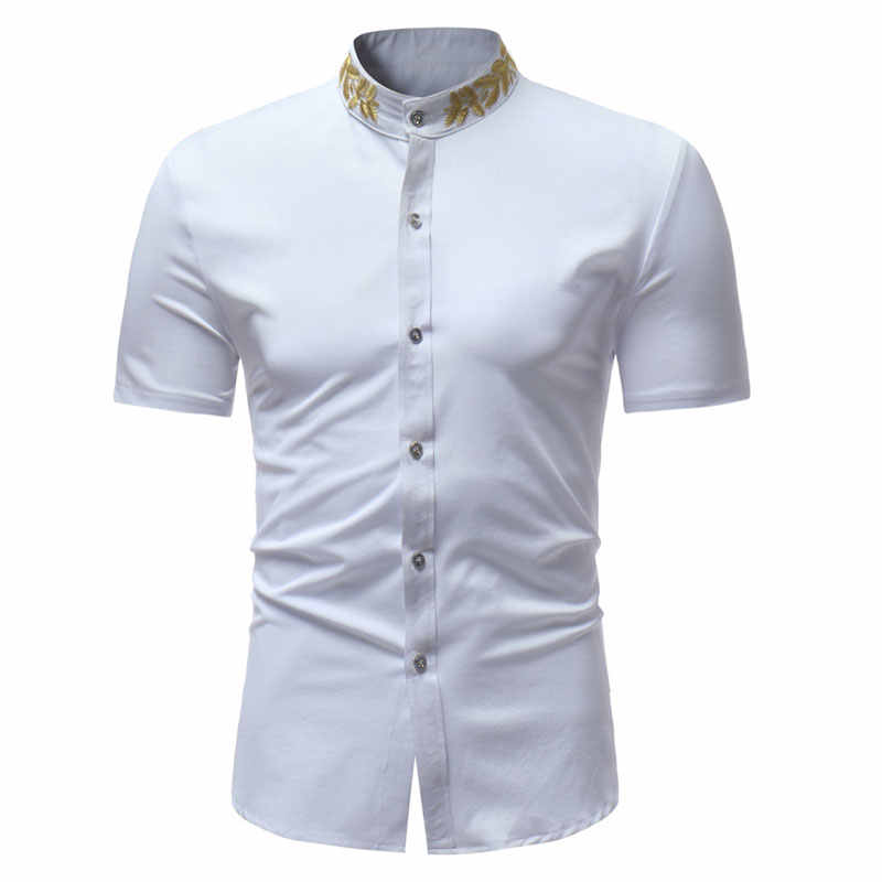 Mens Embroidery Shirt 2018 Fashion Mandarin Collar Short Sleeve Dress Shirts Men Slim Fit Casual Social Shirt Male Chemise Homme