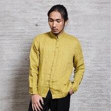 Men's Casual Shirt Basic Top Mandarin Collar 100% Linen Chinese Japanese Style Kung Fu Tai Chi Zen Nakali M1045