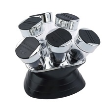 7pcs Condiment Set Pepper and Salt Cruet Plastic Kitchen Spice Rack Set 6pcs Jars + 1pc Rack Black