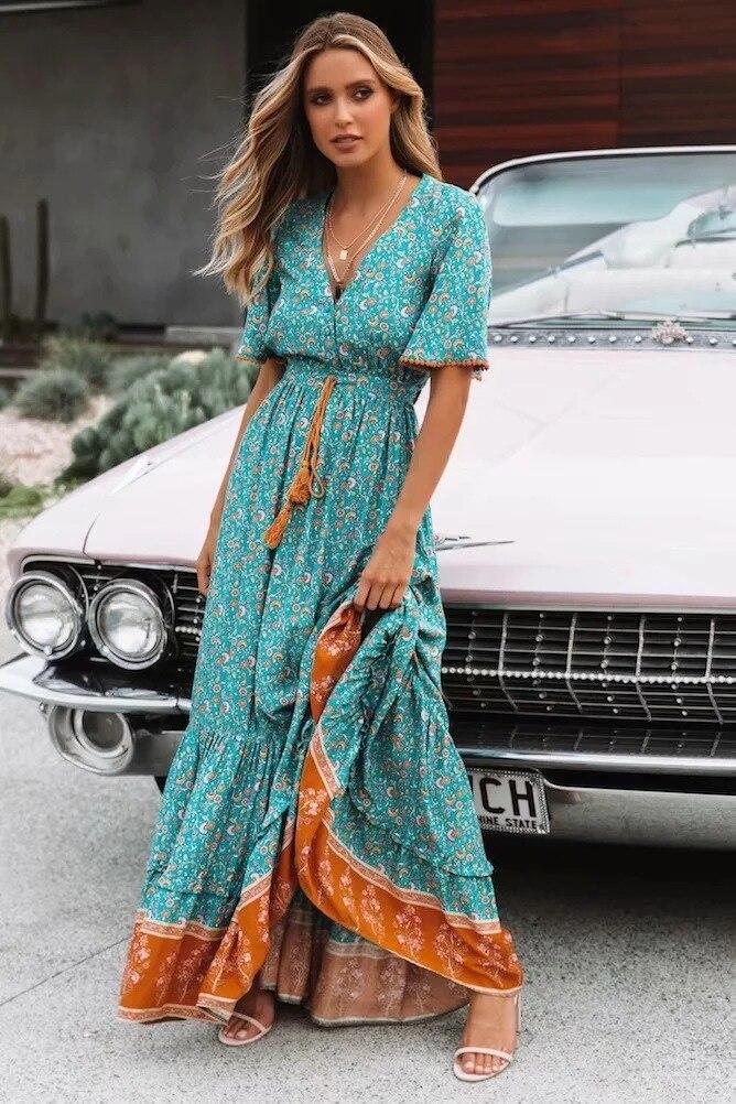 2019Women's Bohème Style conduites de carburant Rétro V-cou robe maxi Printemps Floral Impression robe Style ethnique Gland Coton Chic Robe Robes