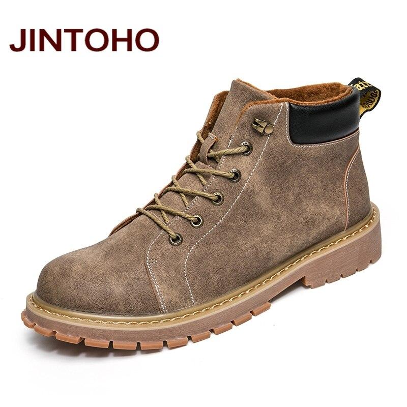 JINTOHO Fashion Men Worku0026Safety Boots Cow Suede Men Rubber Shoes Winter Male Boots Italian ...