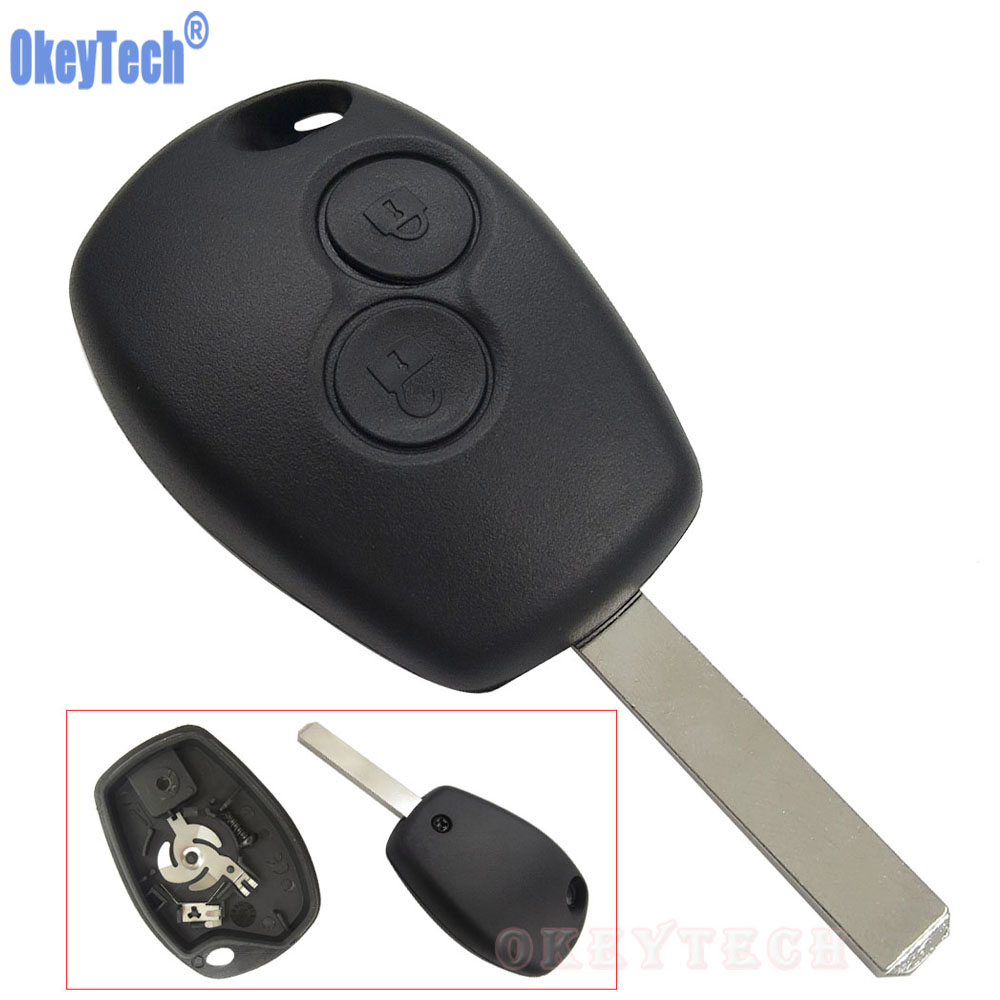 OkeyTech 2 Buttons Key Case For Renault Duster Modus Clio 3 Twingo DACIA Logan Sandero Uncut Blade Fob Remote Shell Replacement keyyou without blade 2 buttons car key shell remote fob cover case for renault dacia modus clio 3 twingo kangoo 2 with logo