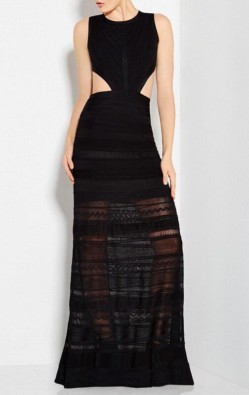 a521765b4493b أعلى جودة 1 1 أسود اللون السيدات HL ضمادة اللباس أكمام الطابق طول أنيقة حزب  اللباس الحدث
