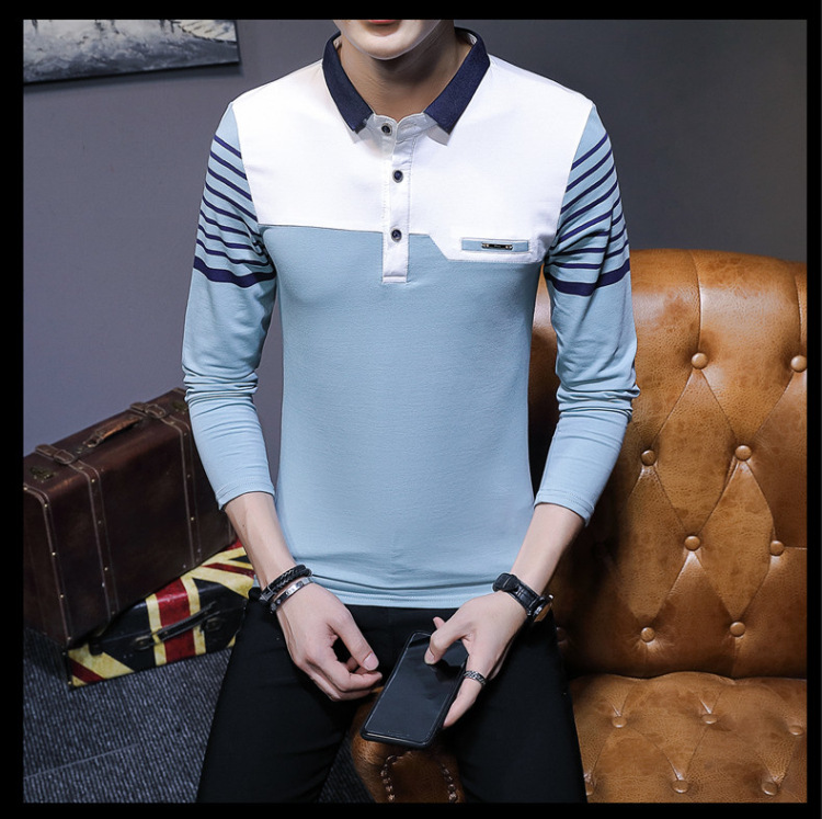 Business Casual Long Sleeve Men Polo Shirt Striped Autumn Winter Polos Cotton Slim Fit Camisa Polo Masculina 80