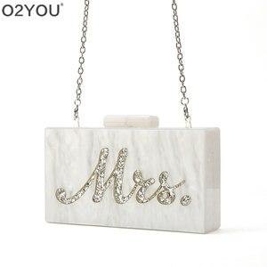 Image 3 - Mode Angepasst Acryl Box Kupplungen Dame Strand Party Handtasche Perle Weiß Mit Silber Glitter Oder Gold Glitter Name Mrs Brief
