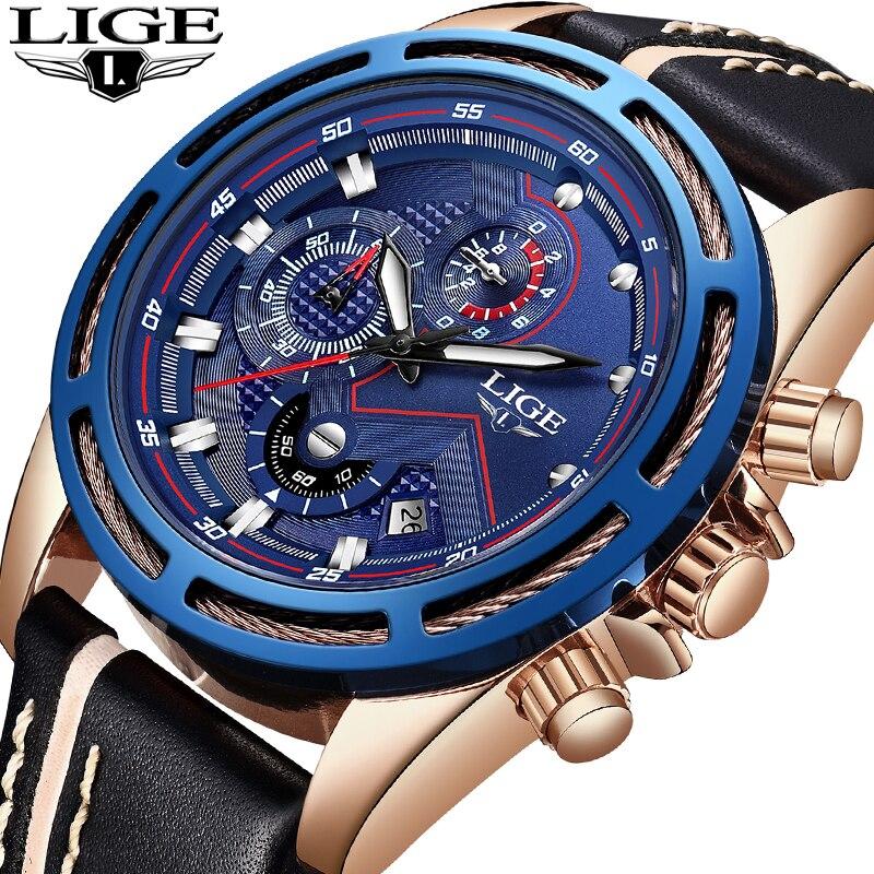 2018 New LIGE Men Watches Top Brand Luxury Leather Business Watch Men Calendar Waterproof Sport Quartz Watch Relogio Masculino