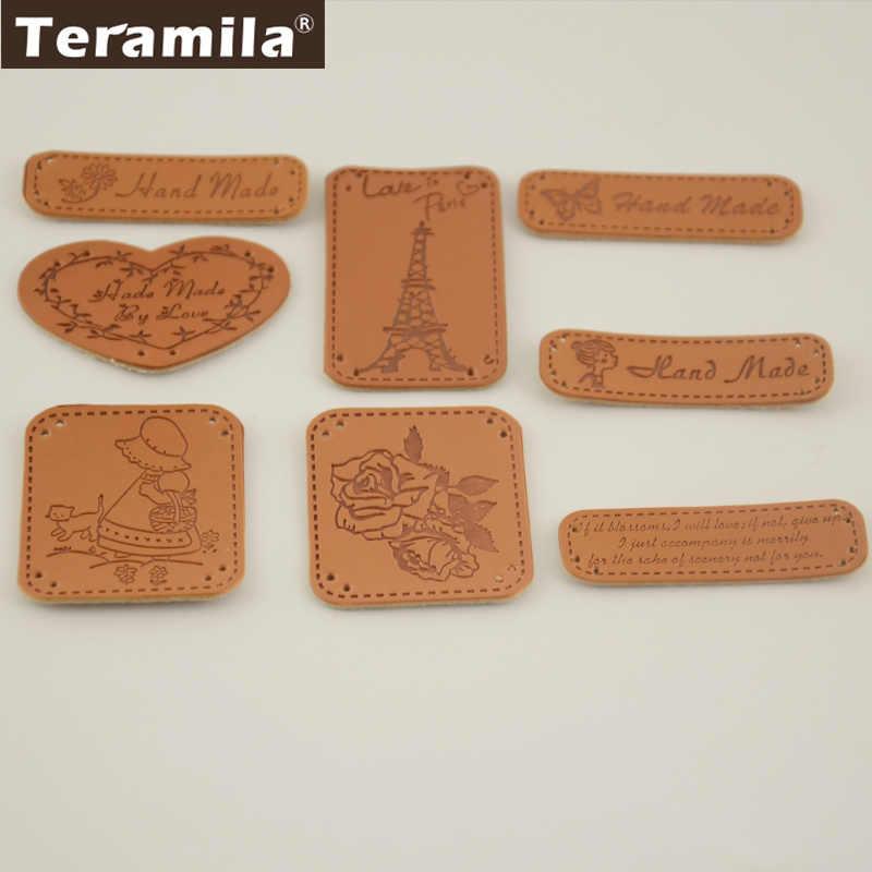 8 디자인 diy 수제 액세서리 zakka 스타일 pu 라벨 손으로 만든 작은 손으로 수 놓은 장식 가죽
