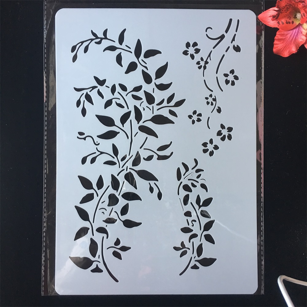 A4 29cm Leaves DIY Craft Layering Stencils Painting Scrapbooking Stamping Embossing Album Paper Card Template