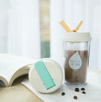 Free Shipping NEW Healthy 480ml Travel Mugs Water Coffee Juice Plastic Drinks Cup With Straw