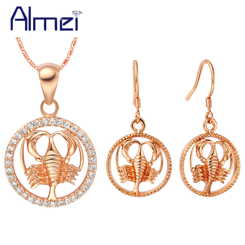 Aliexpress.com : Buy Almei Wedding Rose Gold Color Crystal Costume Jewelry Set for Women 12 ...