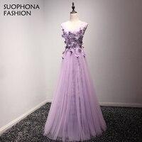 Fashion Formal dress V Neck Light Purple Evening dresses 2017 Hand Flower beaded Kaftan Evening gowns Vestidos de festa