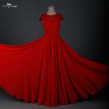 RSE666 Short Sleeve Long Wine Red Chiffon Prom Dresses 2016