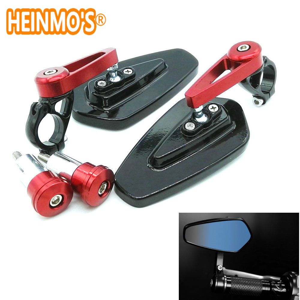 100% GLOEDNIEUWS Motorcycle Mirror Motor Motor Achteruitkijkspiegel Side Handle Bar End Mirrors Universal RED