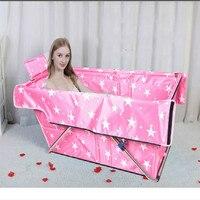 Uninflatable Folding Bathtub Foldable Twice Portable Bath Barrel with Pillow sauna adulto portable bathtub