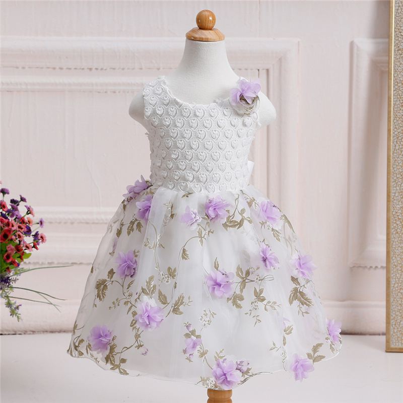 New Flower Girls Dress Summer Kids Girl Clothing Wedding Party Prom Floral Dresses Sleeveless Clothes Children  Princess Dress new kids princess dress for girls dresses for summer party dress wedding flower girl dress girls clothing gift 6 colors