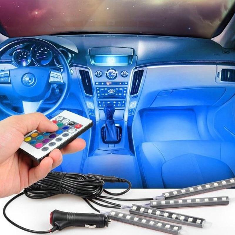 DHL Fedex 10 PCS RGB LED Wireless Remote Control Neon Light Lamp Strip Lights Car Decor