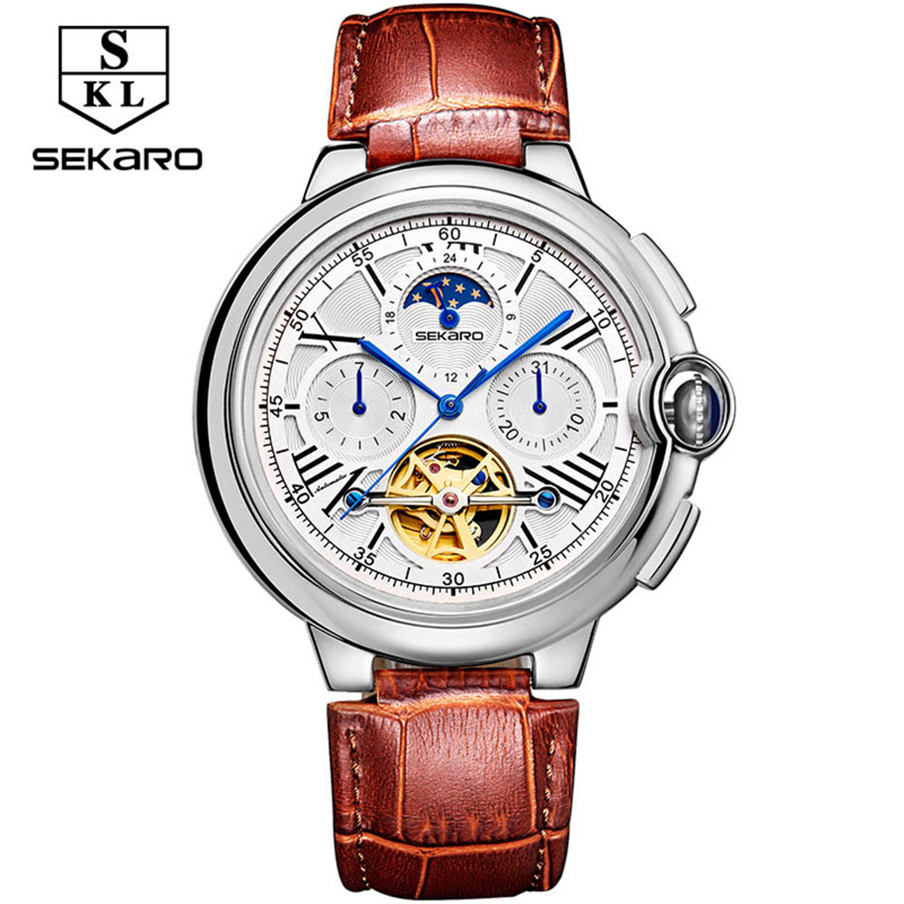 SEKARO Mens High Quality Tourbillon Automatic mechanical Watches Men Top Brand Luxury Moon phase 6 pin Business watch Man Clcok new business watches men top quality automatic men watch factory shop free shipping wrg8053m4t2